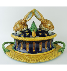 Minton iconic majolica game tureen and cover, the cover having the heads of two hares and two ducks realistically colored and symmetrically arranged (est.  $25,000-$35,000).