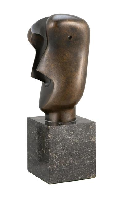"""Divided Head"", a bronze by Henry Spencer Moore"