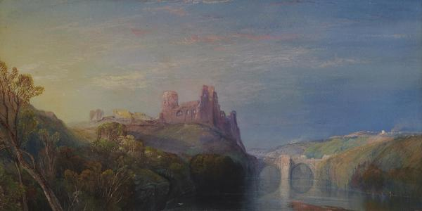 """""""Barnard Castle,"""" an 1862 watercolor by Thomas Moran received by the Morse this year as part of the Stebbins Collection gift."""