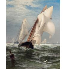 """Lot 61, EDWARD MORAN, American (1829-1901), """"The Winning Yacht, """"oil on canvas, circa 1877, signed, 40 x 32 inches, estimate $40,000-60,000 Sold for US$112,500"""