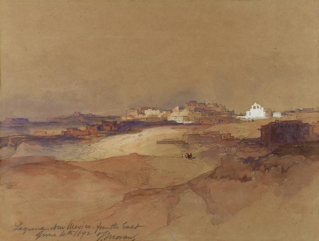 Thomas Moran (1837–1926), Laguna, New Mexico Looking from the East (1891), watercolor, gouache, and pencil on paper 9 3/8 x 12 3/8 (sight) in, Estimate: $75,000–$125,000