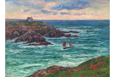 HENRY MORET (French, 1856-1913) Marine Douëlan, Bretagne (Voiliers au large de Douëlan) Oil on canvas 23 5/8 x 31 7/8 inches (60 x 81 cm) Signed and dated lower right: Henry Moret, 1902 Framed: 34 x 42 inches