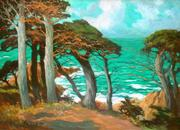 "Mary DeNeale Morgan (1868 - 1948) ""Cypress Trees, Carmel"" Oil on canvas, 30 x 40 inches AVAILABLE NOW"