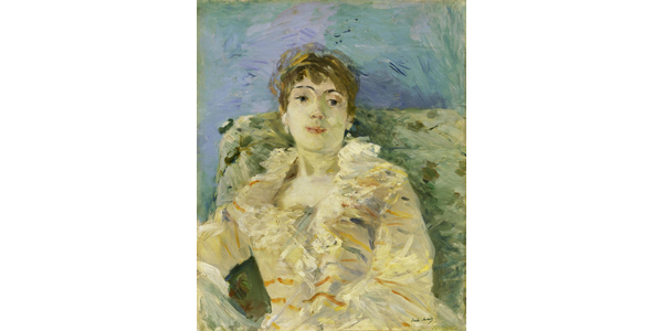 BERTHE MORISOT, GIRL ON A DIVAN, (JEUNE FEMME AU DIVAN), 1885.  Oil on canvas, 61 x 50.2 cm.  Tate, London; Bequeathed by the Hon.  Mrs A.E.  Pleydell-Bouverie through the Friends of the Tate Gallery 1968, Photo ©Tate