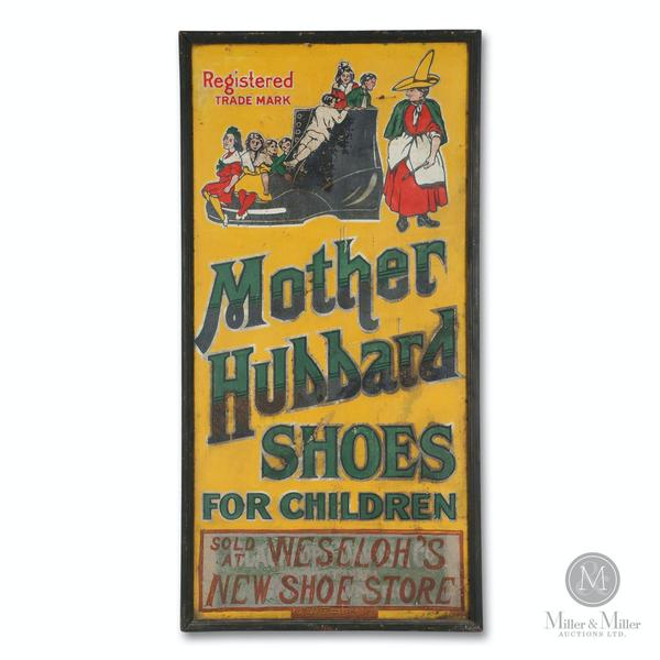 Canadian 1920s tin litho sign for Mother Hubbard Shoes, 60 inches by 30 inches in the original wood frame (est.  CA$3,500-$5,000).