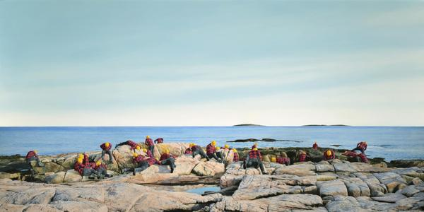 Cobi Moules, Untitled (Rocky Coast of Maine I), 2019.  Oil on canvas, 34 x 60 in.  Courtesy of the artist and Kasper Contemporary.