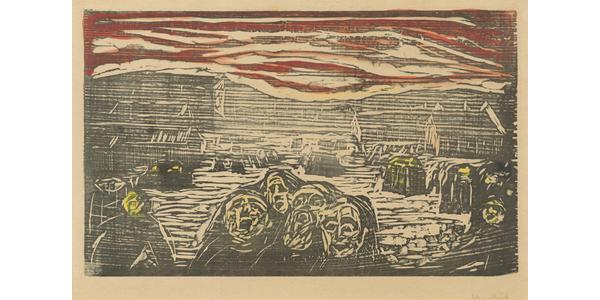 Edvard Munch (Norwegian , 1863 – 1944) Crowds in a Square , 1920.  Color woodcut.  National Gallery of Art, Washington, Gift of the Epstein Family Collection , 2013.