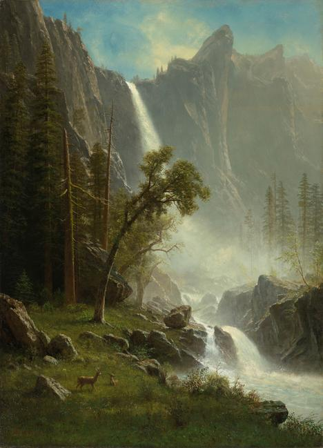 Albert Bierstadt, American, 1830–1902, Bridal Veil Falls, Yosemite, ca.  1871–73.  Oil on canvas.  North Carolina Museum of Art, Raleigh, Purchased with funds from the North Carolina State Art Society (Robert F.  Phifer Bequest) and various donors, by exchange.