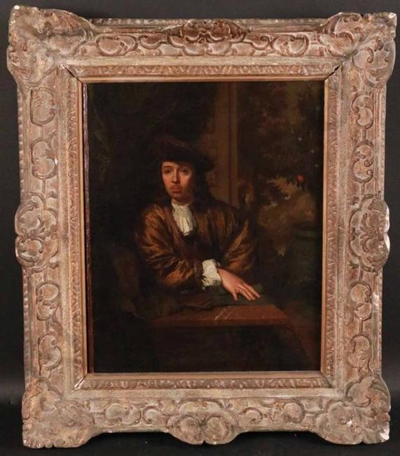 Old Master portrait of an artist from the Circle of Caspar Nescher (Heidelberg, 1639-1684, The Hague), half-length, 16.5 inches by 13.5 inches, signed (est.  $10,000-$20,000).