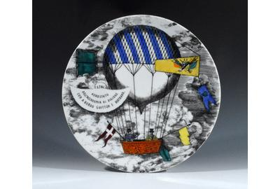 A Vintage Piero Fornasetti Mongolfiere (Hot Air) Balloon Plate, Number 5, 1950's.