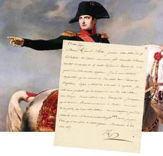 One-page letter written in French by Napoleon Bonaparte (1769-1821), signed and dated Mat 22, 1807, and written from what is now Poland (est.  $2,000-$2,400).