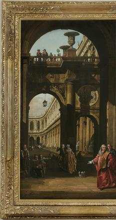 Bernardo Bellotto (Venice 1722-1780 Warsaw) Architectural Capriccio with a Self-portrait in the Costume of a Venetian Nobleman, c.  1762-65 Oil on canvas, 61 1/2 x 44 1/4 inches