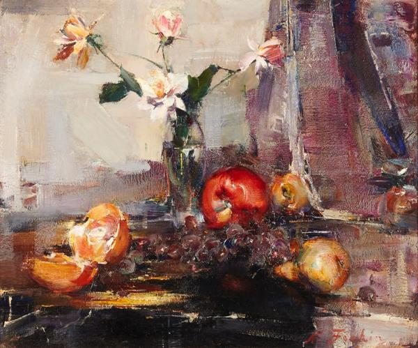 Oil on canvas painting by Nicolai Fechin (Russian, 1881-1955), titled Still life with flowers and fruit (circa 1925), signed lower right, 20 inches by 24 inches ($262,500).
