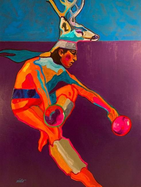 Many of John Nieto's (Tex., N.M., 1936-2018) works feature Native Americans from the Southwest, including this 20 inch by 24 inch electric acrylic on canvas, Deer Dancer ($10,455).