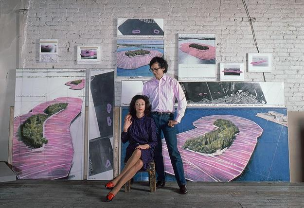 New York, 1981: Christo and Jeanne Claude in their studio before preparatory drawings for Surrounded Islands.