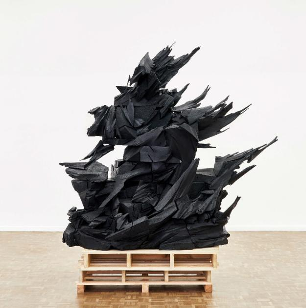 Wim Botha, Prism 13 [Dead Pieta], 2015, bronze and wooden pallets, H.  95 ¼ x W.  88 1/5 x D.  49 ½ in., Courtesy of the artist and Stevenson, Cape Town and Johannesburg, South Africa