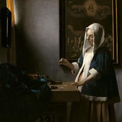 """Vermeer and the Masters of Genre Painting: Inspiration and Rivalry,"" on view October 22, 2017 – January 21, 2018, at the National Gallery, DC.  Shown: Johannes Vermeer, Woman Holding a Balance, c.  1664, oil on canvas, National Gallery of Art, Washington, Widener Collection."