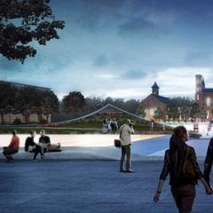 Artist's rendering of the Castle and the Haupt Garden as seen from Indpendence Avenue at dusk.