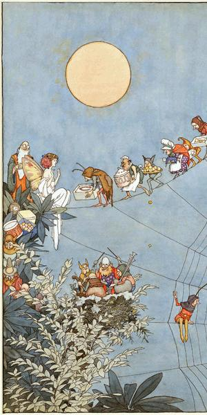 The Fairy's Birthday, 1925, published in Holly Leaves, December, 1925.  William Heath Robinson (1872–1944).  Pen, ink, and watercolor,17 1/2 × 12 3/8 in.  (44.5 × 31.5 cm).  The William Heath Robinson Trust.