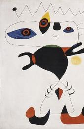 Woman in the Night by Joan Miro, 1945, Pulitzer Collection, Harvard Art Museum, Oil on canvas, 129.5 x 162.6 cm.