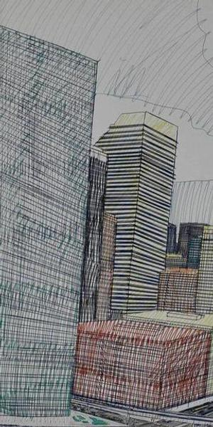 """Wesley Willis' """"The Chicago Skyline, Sears Tower, Chicago River...,"""" 1986."""