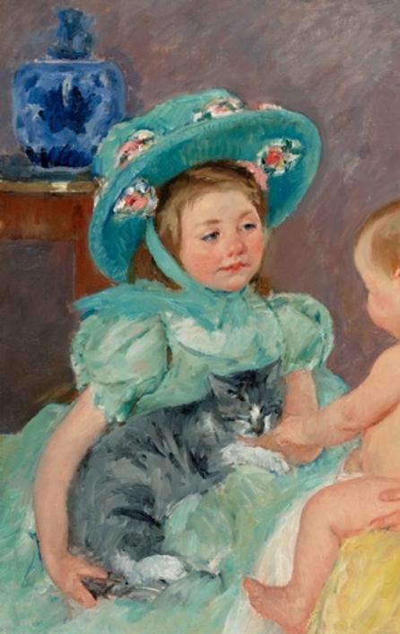 Mary Cassatt (1845-1926) Children Playing with a Cat, 1908.  Oil on canvas, 32 x 39 ½ inches.  Courtesy of John H.  Surovek Gallery.