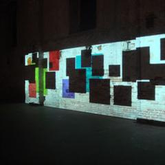 "Paul Chan, ""Sade for Sade's Sake,"" 2009.  Three channel shadow projection."
