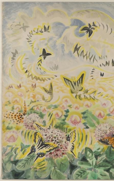 Butterfly Festival by Charles Ephraim Burchfield.  1949-56, watercolor and pencil on paper 37 x 25.75