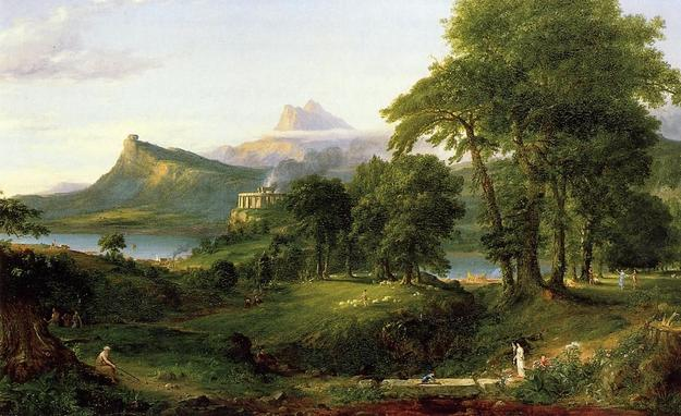 The Course of Empire: The Arcadian or Pastoral State by Thomas Cole.  Oil on canvas, 1834, 39 ½ x 63 ½ in.