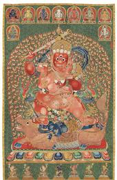 A 15th.-c Tibetan Thangka brought $45 million in Hong Kong.