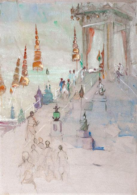 "Hilda May Gordon's Cremation of King Rama IV of Siam (1924), from the exhibition ""Hilda May Gordon: Artist, Adventurer"" at Martyn Gregory."