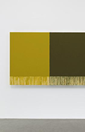 BRICE MARDEN, UPHILL 4, 2014.  OIL ON LINEN, FOUR PANELS.  EACH PANEL: 48 x 36 INCHES; 122 x 91 CM.  OVERALL: 48 x 144 INCHES; 122 x 366 CM.
