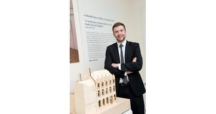 Dr Chris Ferguson, Auckland Castle's head curator, and maquette of the Spanish Institute, Future Plans Exhibition, 2015.