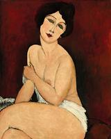 Amedeo Modigliani's Nu assis sur un divan (La Belle Romaine) fetched $68.9 million at Sotheby's in New York Tuesday night, setting a new auction record for the artist.