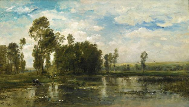 CHARLES FRANÇOIS DAUBIGNY, French, 1817-1878, A Summer Day (Jour d'Été), 1871, signed and dated lower left, Oil on panel, 15 3/8 x 26 7/8 in.