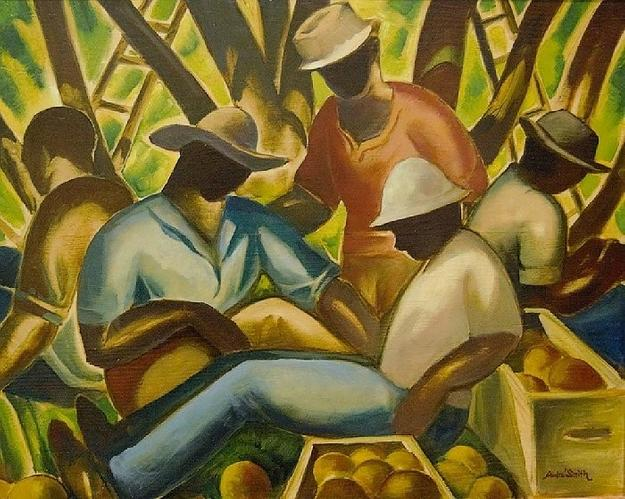 Jules André Smith, Citrus Pickers, c.  1940, oil on Masonite.  Collection of the Maitland Art Center, ©Maitland Art Center.