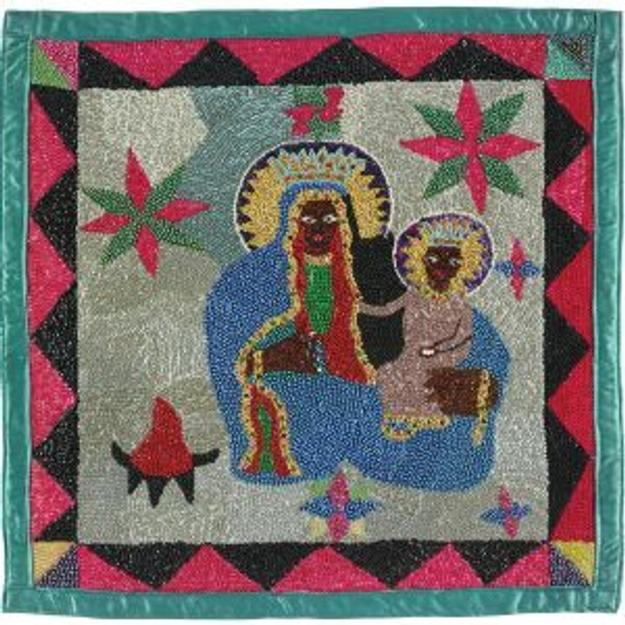 Attributed to, Joseph Oldof Pierre, Haitian, 1955– 1984, Vodou Flag or Banner (Erzulie Danthor), early 1980s, satin, sequins, and glass beads; Collection of the Art Fund, Inc.  at the Birmingham Museum of Art; Robert Cargo Folk Art Collection; Gift of Caroline Cargo, AFI.235.2013