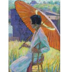 GRACE COCHRANE SANGER (b.  1881) Woman with Red Parasol.  Oil on board, 16 x 12 inches.  Signed on verso.