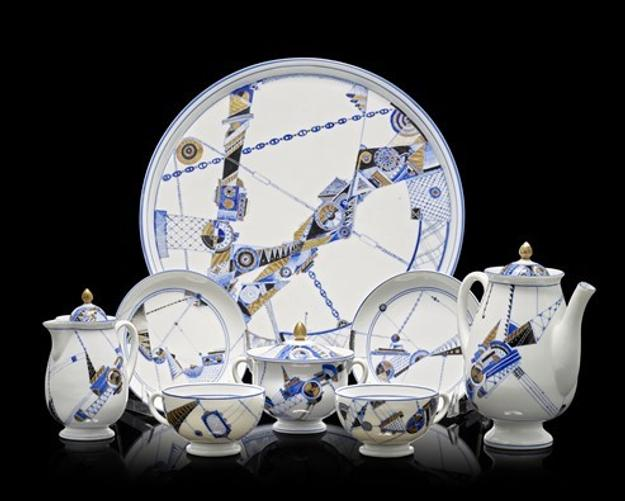 Early Soviet porcelain tea service made at the Lomonosov Porcelain Factory in 1931.  Estimate £40,000-60,000.