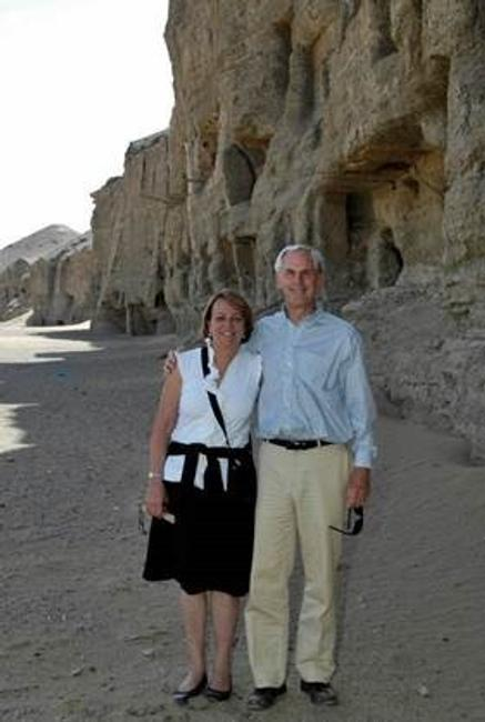John and Louise Bryson at the Mogao Grottoes, the site of a Getty Conservation Institute project, in 2008.