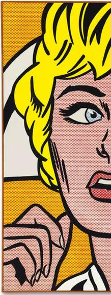 Brought an artist auction record of $95.4 million in Nov.  2015: Roy Lichtenstein (1923-1997), Nurse, 1964.  Oil and Magna on canvas.  Signed and dated 'rf Lichtenstein '64' (on the reverse).  48 x 48 in.  (121.9 x 121.9 cm.) © Estate of Roy Lichtenstein