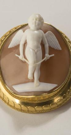 Shell cameo of an angel in high relief from exhibitor Arthur Guy Kaplan.