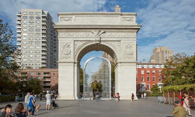 Ai Weiwei's Good Fences Make Good Neighbors art project in Washington Square Park.  Photograph: JasonWyche