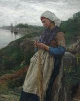 "Jules Breton's (1827-1906) ""A Fisherman's Daughter,"" 1876, oil on canvas, 100 x 70 cm, will return to Douai, France's Musée de la Chartreuse, on Oct.  13, 2011, after it was stolen by a German solider over 100 years ago."