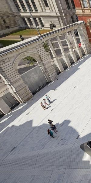 The Sackler Courtyard, V&A Exhibition Road Quarter.  Image © Hufton + Crow