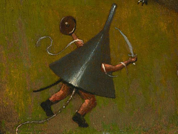 DETAIL from: Hieronymus Bosch, Netherlandish (ca.  1450–1516).  The Temptation of St.  Anthony, ca.  1510-1520.  Oil on panel (oak), 15 3/16 x 9 7/8 inches (38.6 x 25.1 cm).  The Nelson-Atkins Museum of Art, Kansas City, Missouri.  Purchase: William Rockhill Nelson Trust, 35-22.