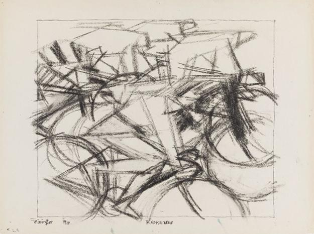 Lyonel Feininger, Bicycle Race, 1912.  Charcoal and black ink on cream laid paper.  Harvard Art Museums/Busch-Reisinger Museum, Bequest of William S.  Lieberman, 2009.100.51.  Photo: Katya Kallsen © President and Fellows of Harvard College.