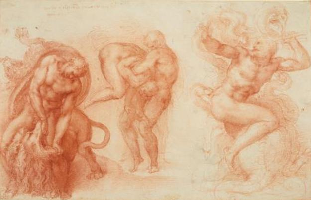 Michelangelo Buonarroti (Italian, 1475–1564).  Studies for the Three Labors of Hercules, ca.  1530.  Red chalk, 10 11/16 x 16 5/8 in.  (27.2 x 42.2 cm).  Royal Collection Trust / © Her Majesty Queen Elizabeth II 2017, www.royalcollection.org.uk