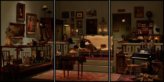 303 Gallery showed a triptych, Antiquarian Sleeping in His Shop, created specifically for The Art Show 2017 by Rodney Graham.