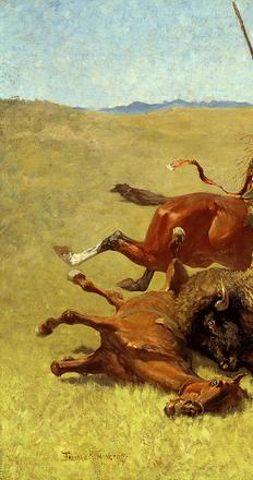 Frederic Remington (American, 1861-1909), The Buffalo Hunt, 1890, oil on canvas, 34 x 49 inches, Buffalo Bill Center of the West, Cody, Wyoming, Gift of William E.  Weiss, 23.62